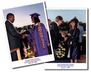 Two photographs of graduates receiving their degrees